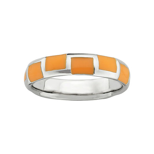 Personally Stackable Sterling Silver Orange Enamel Geometric Ring
