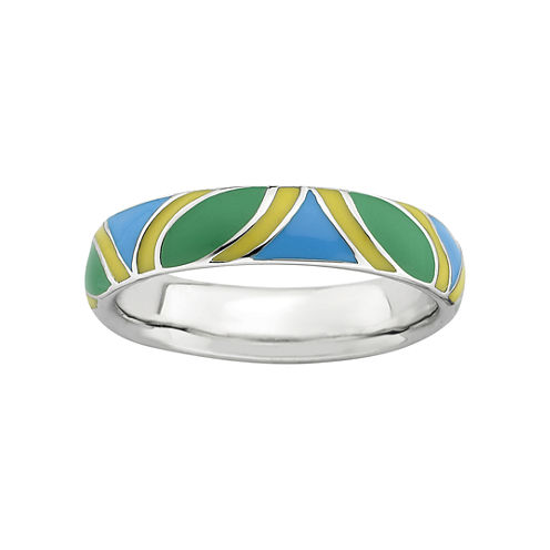 Personally Stackable Sterling Silver Blue, Green & Yellow Enamel Ring