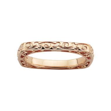 jcpenney.com | Personally Stackable Square Patterned Ring 18K Rose Gold Over Sterling Silver