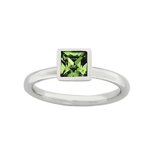 Personally Stackable Sterling Silver August Birthstone Crystal Ring