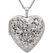 Diamond-Cut Heart Locket Pendant Sterling Silver  Necklace