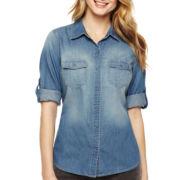 a.n.a® Snap-Front Denim Shirt - Tall