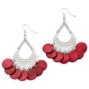 Red Shell Disc Chandelier Earrings