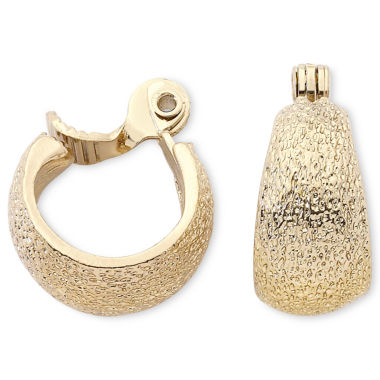 jcpenney.com | Monet® Gold-Tone Textured Hoop Clip-On Earrings