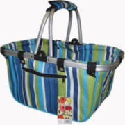 JanetBasket Large Blue Stripes Aluminum Frame Basket