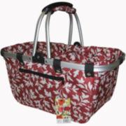 JanetBasket Large Red Floral Aluminum Frame Basket