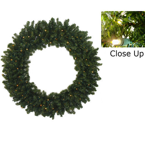 """30"""" Pre-Lit Battery Operated Canadian Pine Christmas Wreath with Clear LED Lights"""