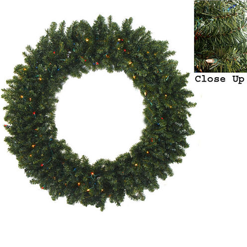 """48"""" Pre-Lit Canadian Pine Artificial Christmas Wreath with Multi-Color Lights"""