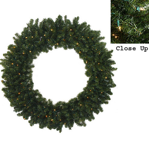5 Ft. Pre-Lit Commercial Size Canadian Pine Artificial Christmas Wreath with Clear Lights