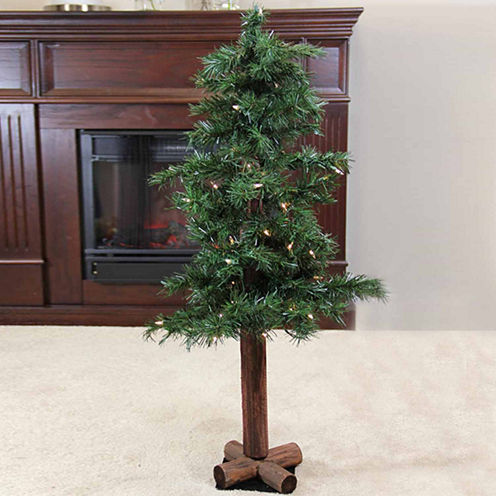 """7' X 40"""" Pre-Lit Traditional Woodland Alpine Artificial Christmas Tree with Multi-Colored Lights"""""""