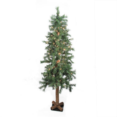 "jcpenney.com | 6' X 34"" Pre-Lit Traditional Woodland Alpine Artificial Christmas Tree with Clear Lights"""