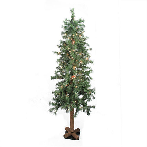 "6' X 34"" Pre-Lit Traditional Woodland Alpine Artificial Christmas Tree with Clear Lights"""