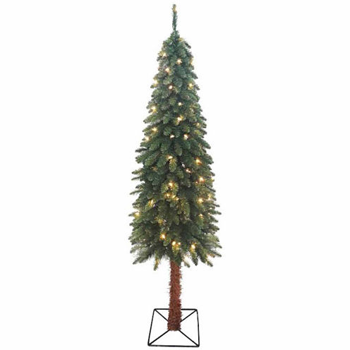 7' Pre-Lit Two-Tone Alpine Artificial Christmas Tree with Clear Lights