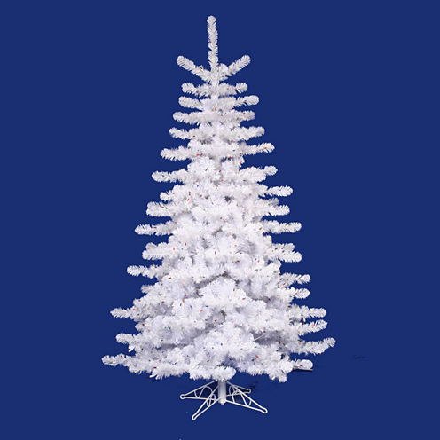 12' Pre-Lit Crystal White Artificial Christmas Tree - Multi Lights