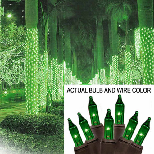 2' X 8' Green Mini Christmas Net Style Tree TrunkWrap Lights with Brown Wire