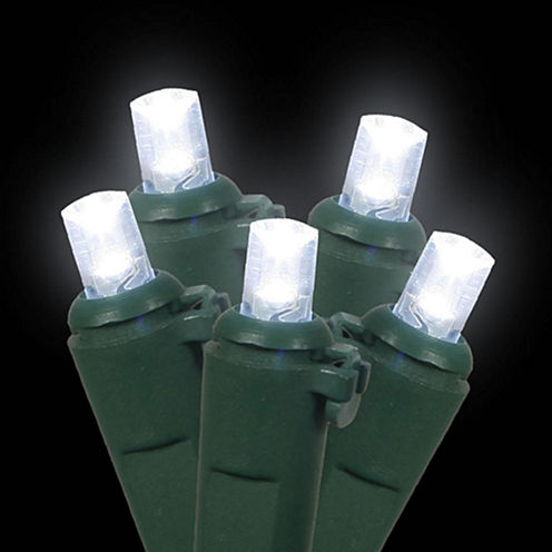 Set Of 60 Cool White LED Wide Angle Christmas Lights with Green Wire