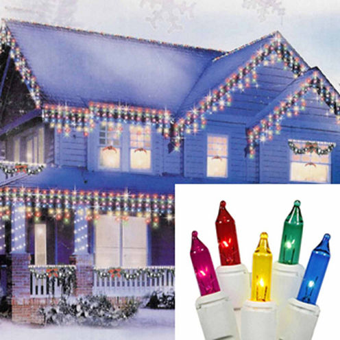 Set of 300 Shimmering Multi-Color Mini Icicle Christmas Lights with White Wire