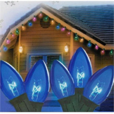 "jcpenney.com | Set Of 25 Transparent Blue C7 Christmas Lights 12""Spacing with Green Wire"""