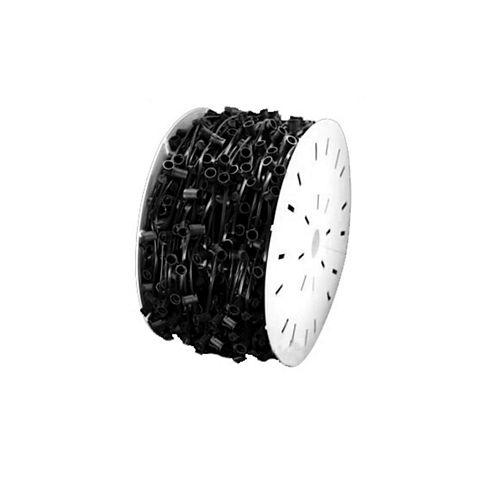 "1000' Commercial C7 Christmas Light Socket Set Spool - 12"" Spacing Black Wire"""