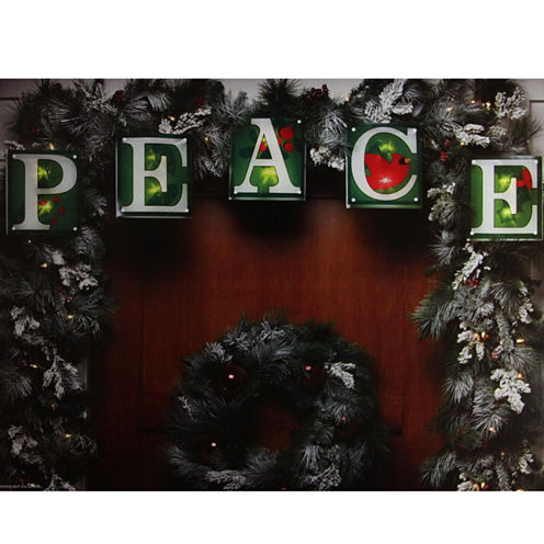 "7' Green Shimmering ""Peace"" Christmas Light Garland With 10 Clear Mini Lights with White Wire"