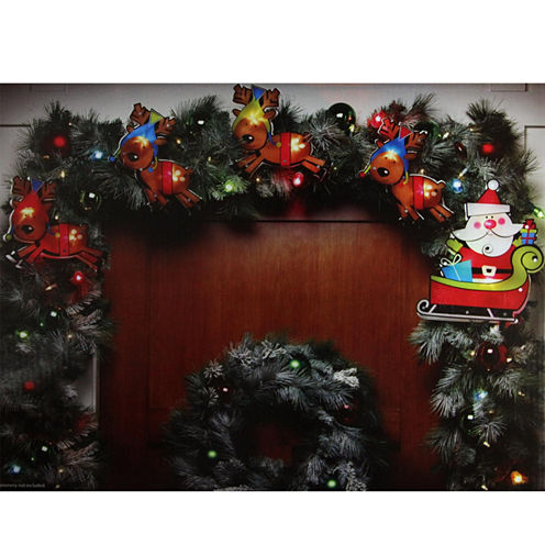 8' Shimmering Santa Claus & Reindeer Christmas Light Garland With 10 Clear Mini Lights with White Wire