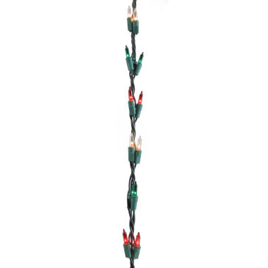 jcpenney.com | 9' Christmas Light Garland With 100 Red, Green & Clear Mini Lights with Green Wire