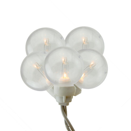 Set of 100 Clear G30 Globe Icicle Christmas Lights with White Wire