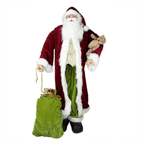 Huge 6' Life-Size Sitting Plush Santa Claus Figurine with Teddy Bear & Gift Bag