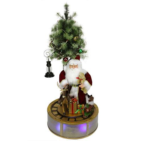 4' Animated & Musical Lighted LED Santa Claus with Tree & Rotating Train
