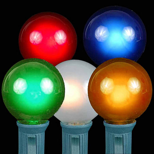 Set of 20 Multi-Color Opaque G40 Globe Christmas Lights with Green Wire
