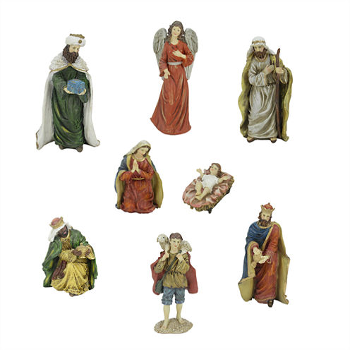 "12.25"" Jewel Tone Inspirational Religious NativityFigurine- Set of 8"""