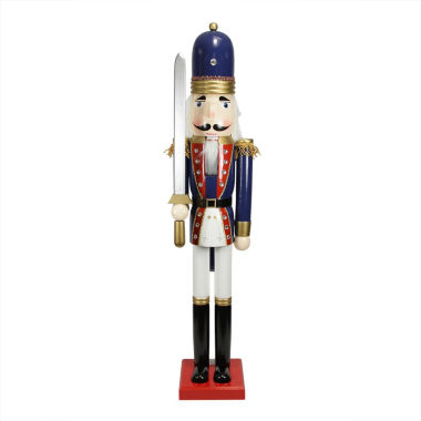 "jcpenney.com | 48"" Blue, Red & White Wooden Nutcracker Soldier with Sword"