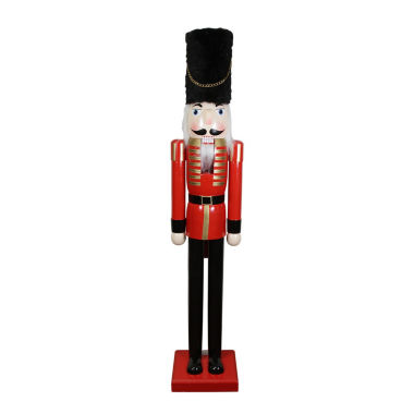 jcpenney.com | 5' Commercial Size Red & Black Wooden Nutcracker Soldier