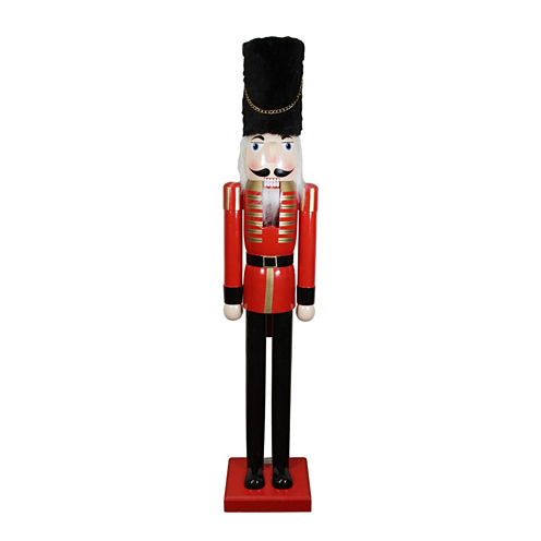 5' Commercial Size Red & Black Wooden Nutcracker Soldier