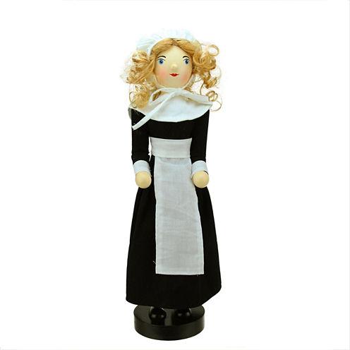 "14"" Pilgrim Woman Wooden Fall Harvest Nutcracker"