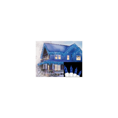 """Set of 300 Blue Mini Icicle Christmas Lights 3"""" Spacing with White Wire"""