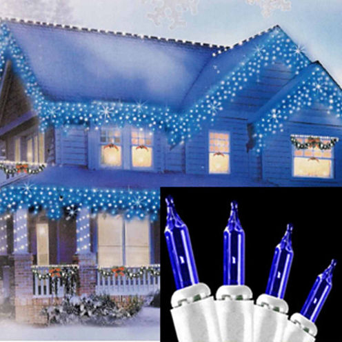 """Set of 100 Blue Mini Icicle Christmas Lights 2.5"""" Bulb Spacing with White Wire"""