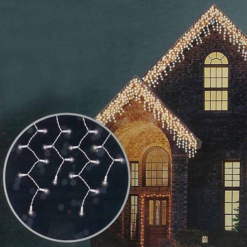 Set of 100 Shimmering Clear Mini Icicle Christmas Lights with White Wire
