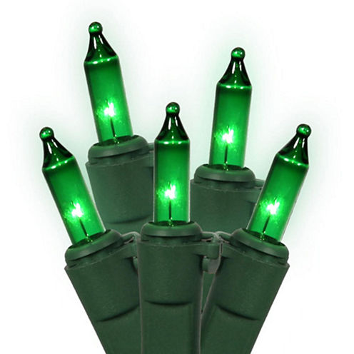 """Set Of 100 Green Commercial Grade Mini Christmas Lights 5.5"""" Spacing With Green Wire"""