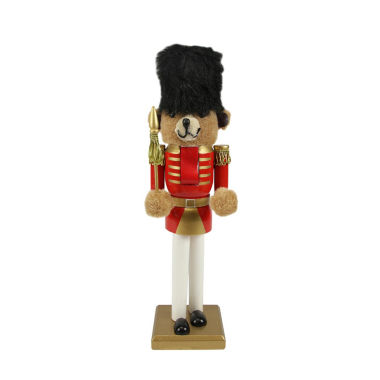 "jcpenney.com | 14.25"" Wooden Red & Gold Nutcracker Bear Soldier"