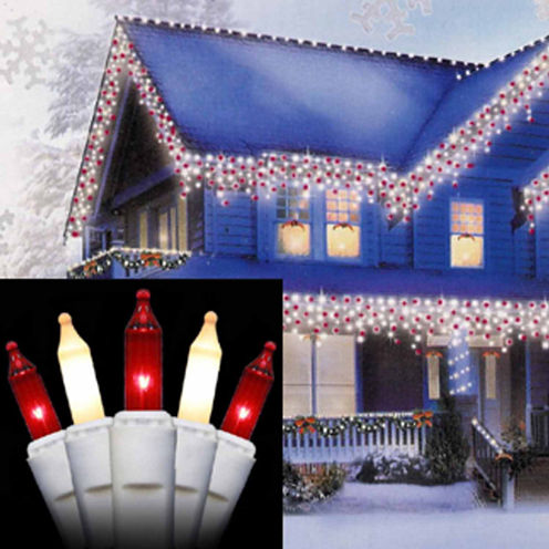 Set of 100 Red & Frosted Clear Mini Icicle Christmas Lights with White Wire