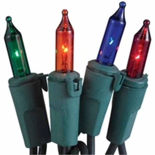 """Set Of 50 Multi Commercial Grade Mini Christmas Lights 5.5"""" Spacing With Green Wire"""
