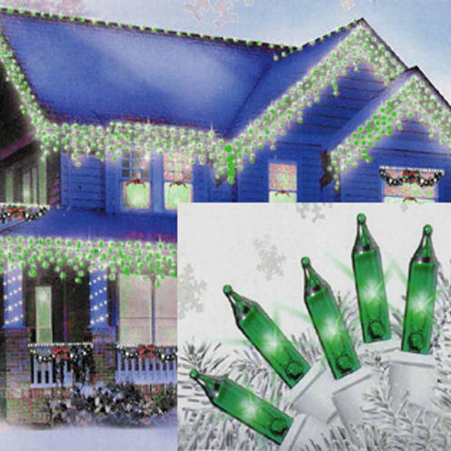 """Set of 100 Green Mini Icicle Christmas Lights 2.5"""" Bulb Spacing with White Wire"""