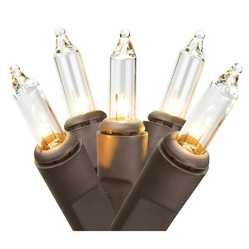 "Set Of 50 Clear Mini Christmas Lights 2.5"" Bulb Spacing with Brown Wire"