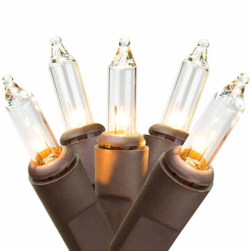 "Set Of 100 Clear Mini Christmas Lights 2.5"" Spacing with 20.5' Long Brown Wire"