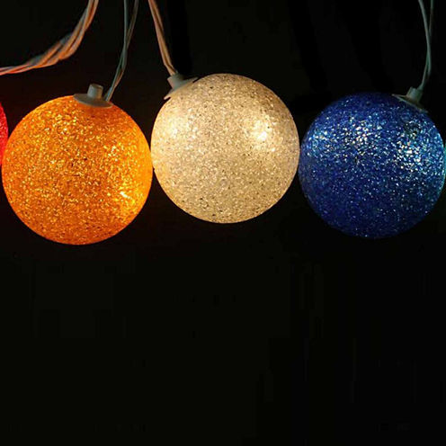 Set Of 6 Multi-Colored Lighted Twinkling Sphere Party Patio Wedding Lights with White Wire
