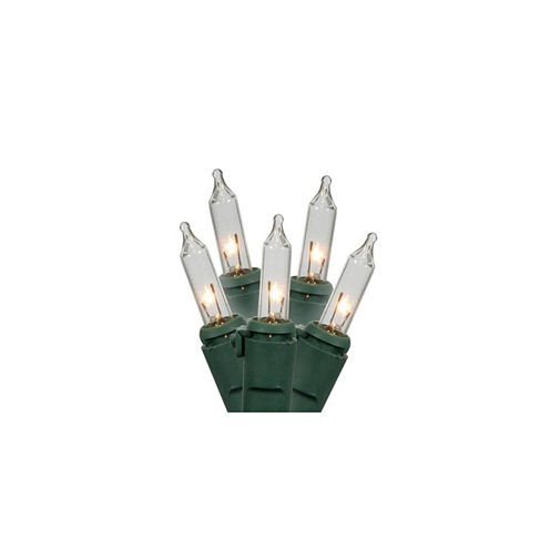 "Set Of 150 Clear Chasing Mini Christmas Lights 3"" Spacing With Green Wire"