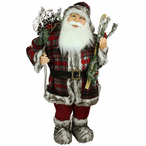 3' Alpine Chic Santa Claus with Frosted Pine, Snowshoes & Skis Figurine