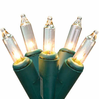 "jcpenney.com | Set Of 300 Clear Mini Christmas Lights 2.5"" Spacing with 62' Long Green Wire"