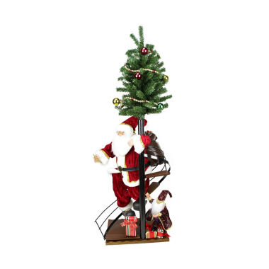 "jcpenney.com | 50"" Santa Claus On Spiral Staircase with Tree & Elf Figurine On Wooden Base"